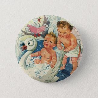 Vintage Children Playing w Bubbles in Swan Bathtub Button