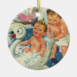 Vintage Children Playing w Bubbles in Swan Bathtub Ceramic Ornament