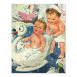 "Vintage Children Playing w Bubbles in Swan Bathtub 4.25"" X 5.5"" Invitation Card"