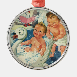 Vintage Children Playing w Bubbles in Swan Bathtub Metal Ornament
