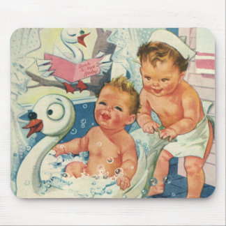 Vintage Children Playing w Bubbles in Swan Bathtub Mousepads