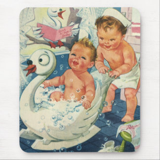 Vintage Children Playing w Bubbles in Swan Bathtub Mouse Pads