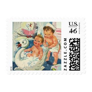 Vintage Children Playing w Bubbles in Swan Bathtub Postage Stamp