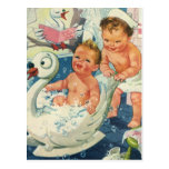 Vintage Children Playing w Bubbles in Swan Bathtub Post Card