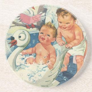 Vintage Children Playing w Bubbles in Swan Bathtub Sandstone Coaster
