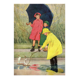 Vintage Children Puddles Boats Rain Birthday Party Personalized Announcement