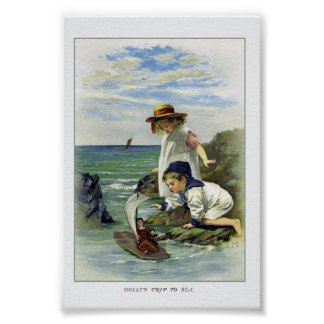 Vintage Children put Doll to Sea Poster