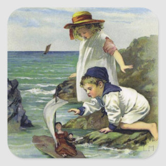 Vintage Children put Doll to Sea Square Sticker