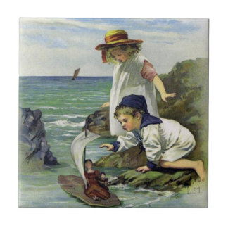 Vintage Children put Doll to Sea Small Square Tile