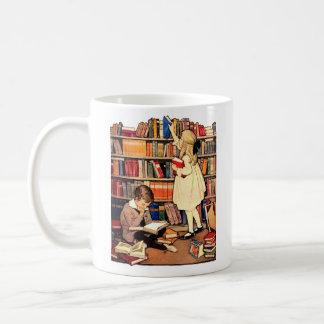 Vintage Children Reading Library Books Mug
