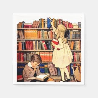 Vintage Children Reading Library Books Napkins