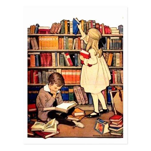 Vintage Children Reading Library Books Postcard