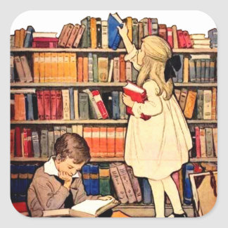 Vintage Children Reading Library Books Stickers