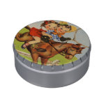 Vintage Children Riding a Horse Playing Cowboys Jelly Belly Tins