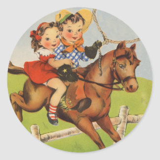 Vintage Children Riding a Horse Playing Cowboys Classic Round Sticker
