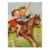 Vintage Children Riding a Horse Playing Cowboys Postcard