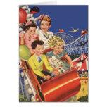 Vintage Children Roller Coaster Birthday Party Cards