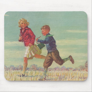 Vintage Children Running to School Carrying Books Mouse Pad