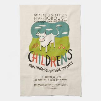 Vintage Children's Art hand towels