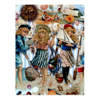 Vintage Children Sea Shells Holiday Boys Girls Postcard