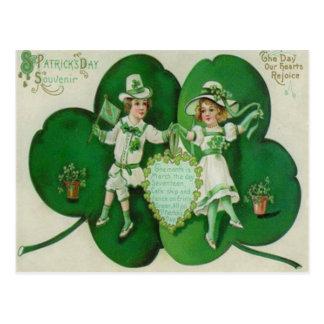 Vintage Children Shamrock Souvenir St Patrick's Postcards