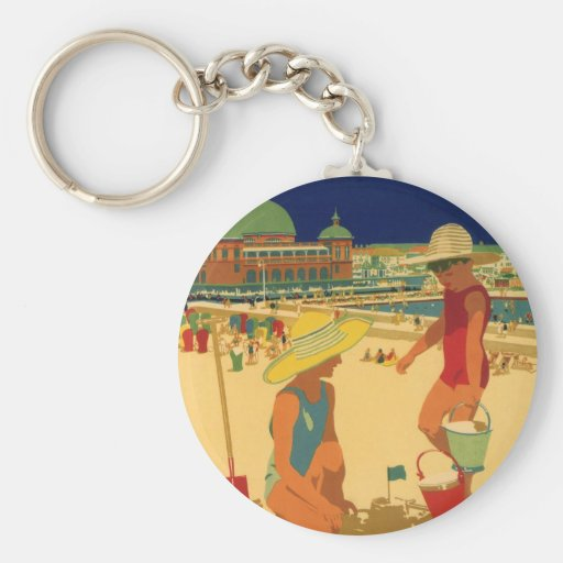 Vintage Children, Sisters Family Vacation at Beach Key Chains