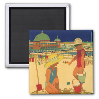 Vintage Children, Sisters Family Vacation at Beach 2 Inch Square Magnet