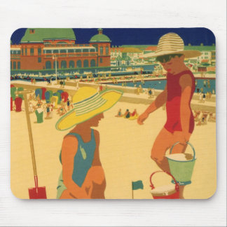 Vintage Children, Sisters Family Vacation at Beach Mousepads