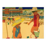 Vintage Children, Sisters Family Vacation at Beach Postcards