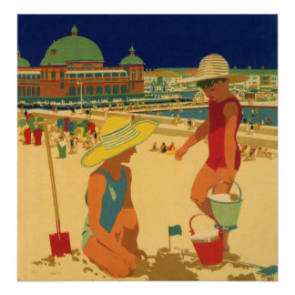Vintage Children, Sisters Family Vacation at Beach Poster