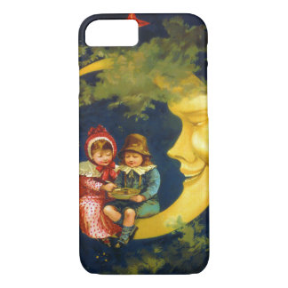 Vintage children sitting on the crescent moon iPhone 8/7 case