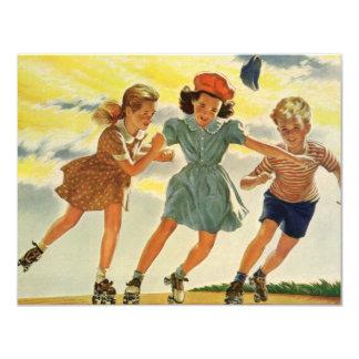 Vintage Children, Skating Skater Birthday Party 4.25x5.5 Paper Invitation Card
