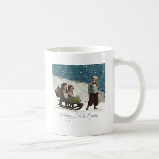 Vintage Children Sledding Coffee Mug