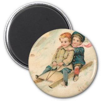 Vintage Children Sledding In the Snow Magnet