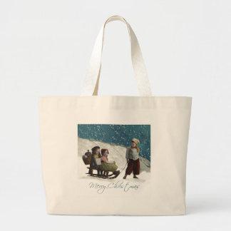 Vintage Children Sledding Large Tote Bag
