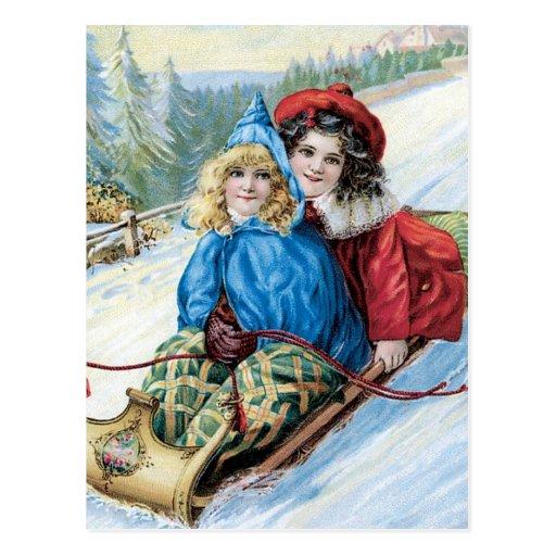Vintage Children Sleding Post Card