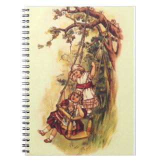 Vintage Children Swinging Outside on Tree Swing Notebook
