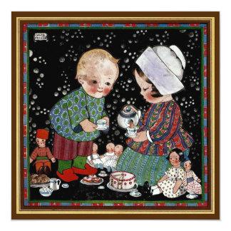 Vintage Children Tea Party with Dolls Birthday Card