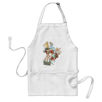 Vintage Children Toddlers Playing with Fire Trucks Adult Apron