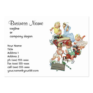 Vintage Children Toddlers Playing with Fire Trucks Large Business Cards (Pack Of 100)