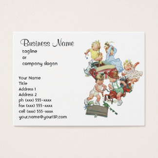 Vintage Children Toddlers Playing with Fire Trucks Business Card