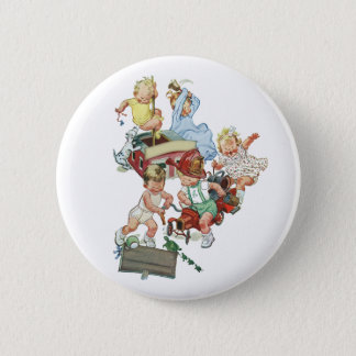 Vintage Children Toddlers Playing with Fire Trucks Button
