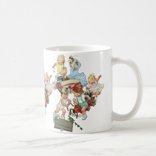 Vintage Children Toddlers Playing with Fire Trucks Coffee Mug