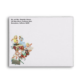 Vintage Children Toddlers Playing with Fire Trucks Envelope