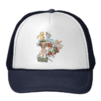Vintage Children Toddlers Playing with Fire Trucks Hat
