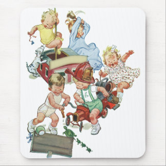 Vintage Children Toddlers Playing with Fire Trucks Mouse Pad