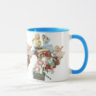 Vintage Children Toddlers Playing with Fire Trucks Mug