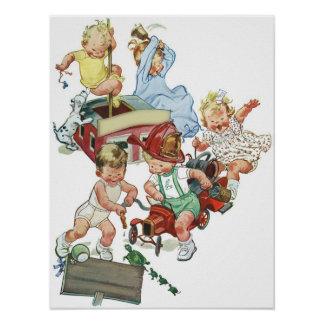 Vintage Children Toddlers Playing with Fire Trucks Poster