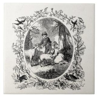 Vintage Children w Sheep Personalized Illustration Large Square Tile