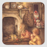 "Vintage Children Waiting For Santa Claus Square Sticker<br><div class=""desc"">Vintage Children Waiting For Santa</div>"
